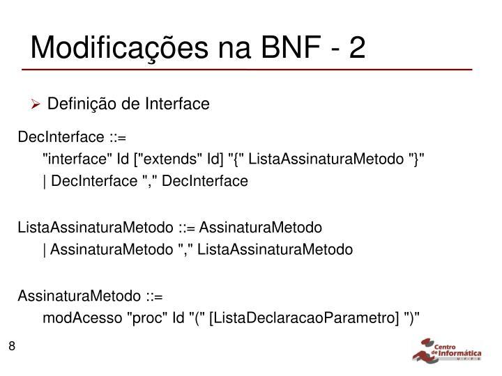 Modificações na BNF - 2