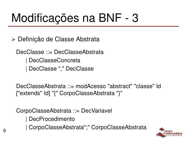 Modificações na BNF - 3