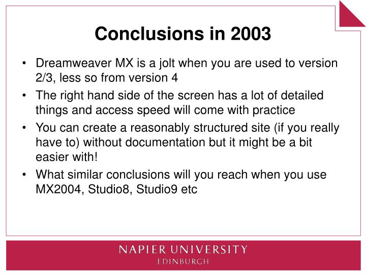 Conclusions in 2003