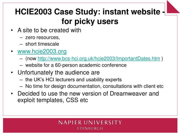 HCIE2003 Case Study: instant website - for picky users