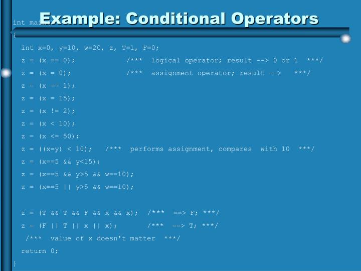 Example: Conditional Operators