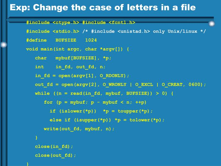 Exp: Change the case of letters in a file