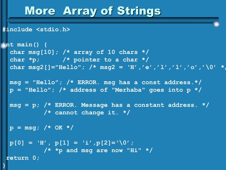 More  Array of Strings