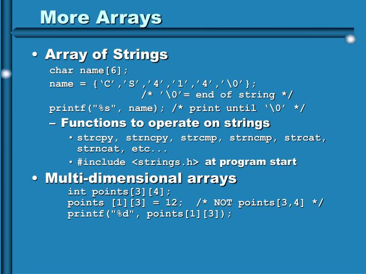 More Arrays