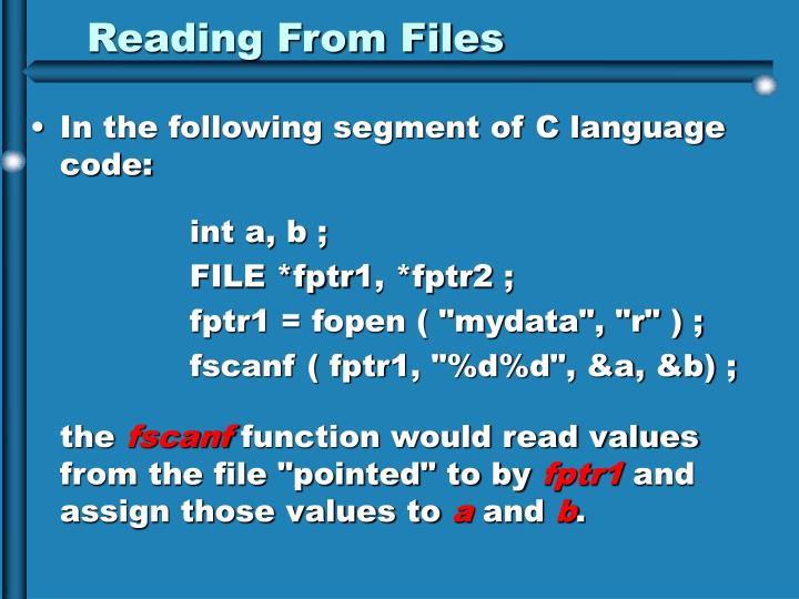 Reading From Files