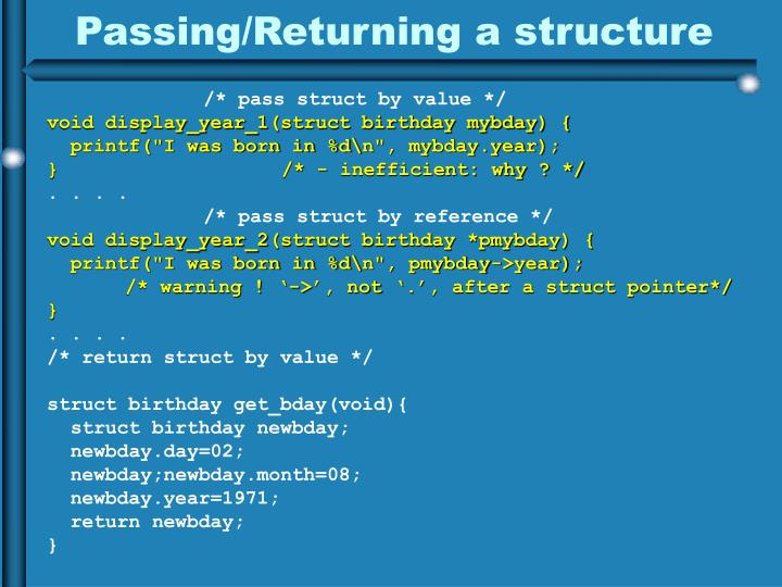 Passing/Returning a structure