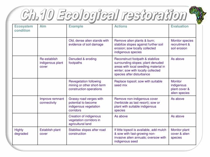 Aims of restoration