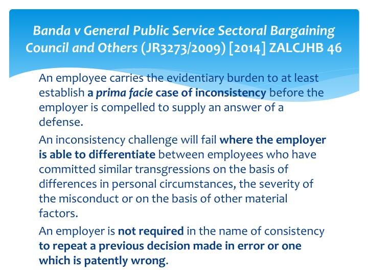 Banda v General Public Service Sectoral Bargaining Council and Others