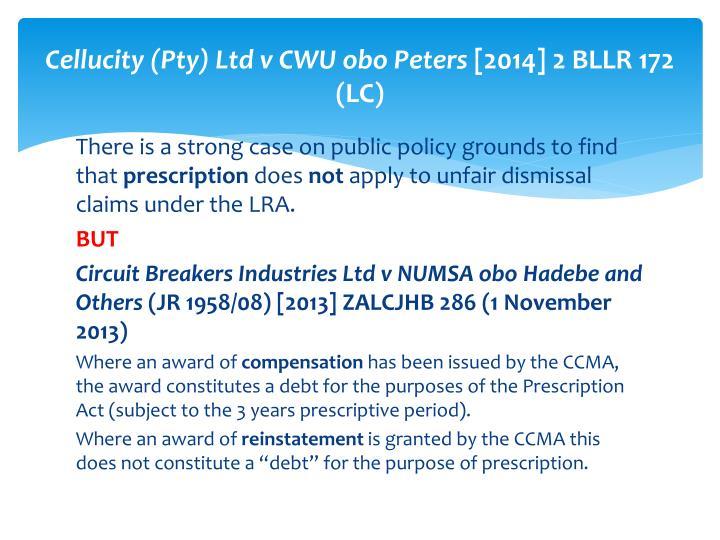 Cellucity (Pty) Ltd v CWU obo Peters