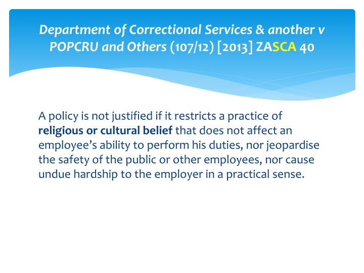 Department of Correctional Services & another v POPCRU and Others