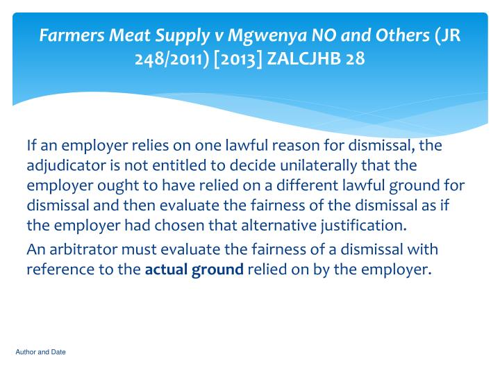 Farmers Meat Supply v Mgwenya NO and Others