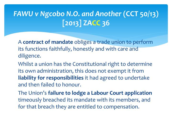FAWU v Ngcobo N.O. and Another