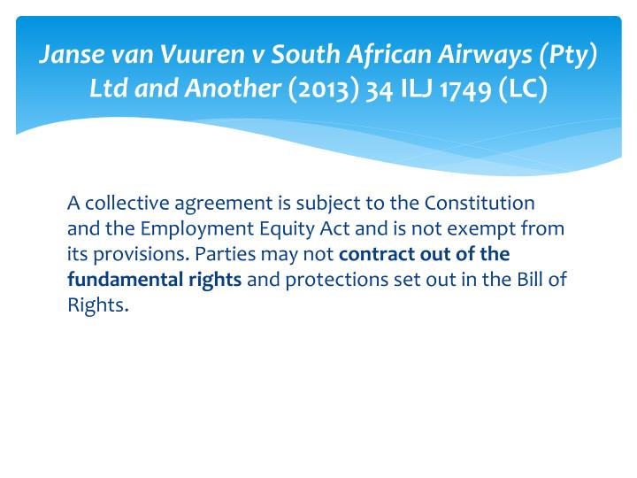 Janse van Vuuren v South African Airways (Pty) Ltd and Another