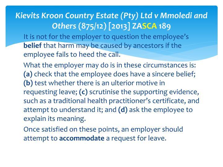 Kievits Kroon Country Estate (Pty) Ltd v Mmoledi and Others