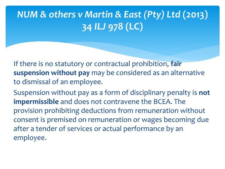 NUM & others v Martin & East (Pty) Ltd