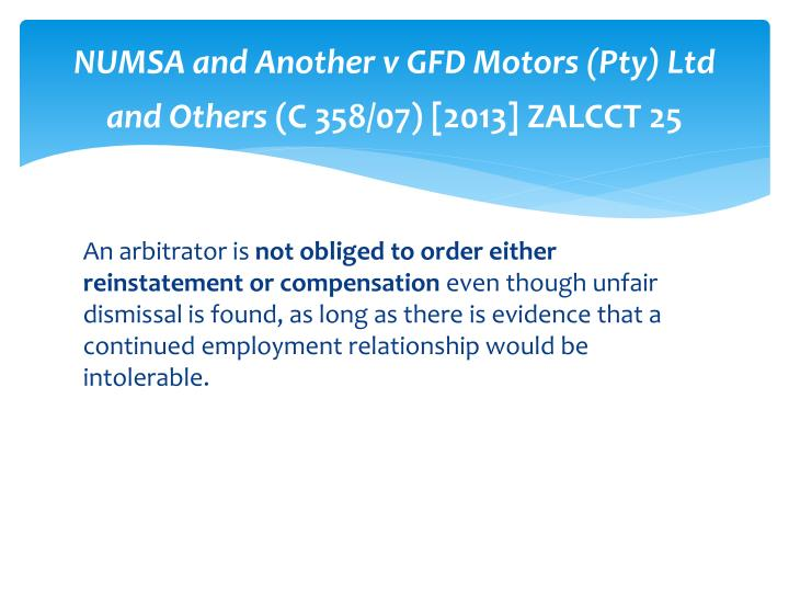 NUMSA and Another v GFD Motors (Pty) Ltd and Others