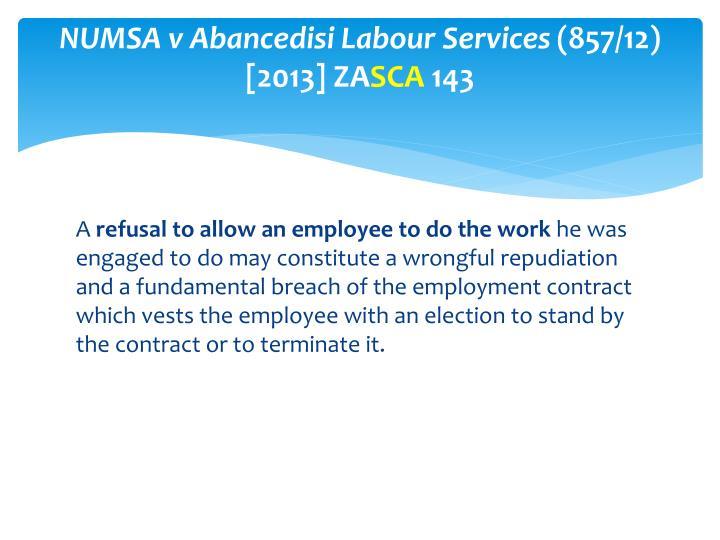 NUMSA v Abancedisi Labour Services