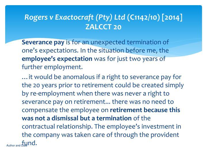 Rogers v Exactocraft (Pty) Ltd