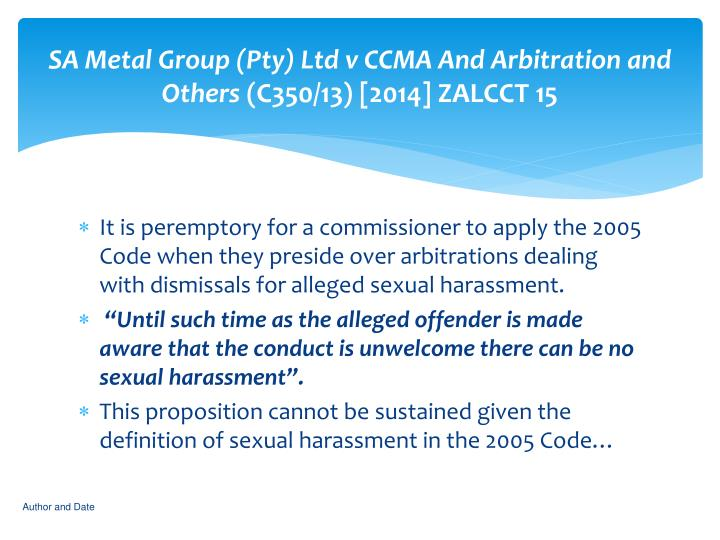 SA Metal Group (Pty) Ltd v CCMA And Arbitration and Others