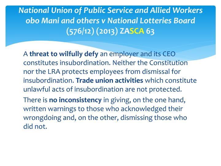 National Union of Public Service and Allied Workers obo Mani and others v National Lotteries Board