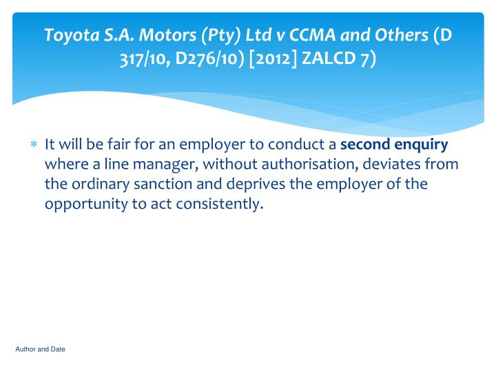 Toyota s a motors pty ltd v ccma and others d 317 10 d276 10 2012 zalcd 7