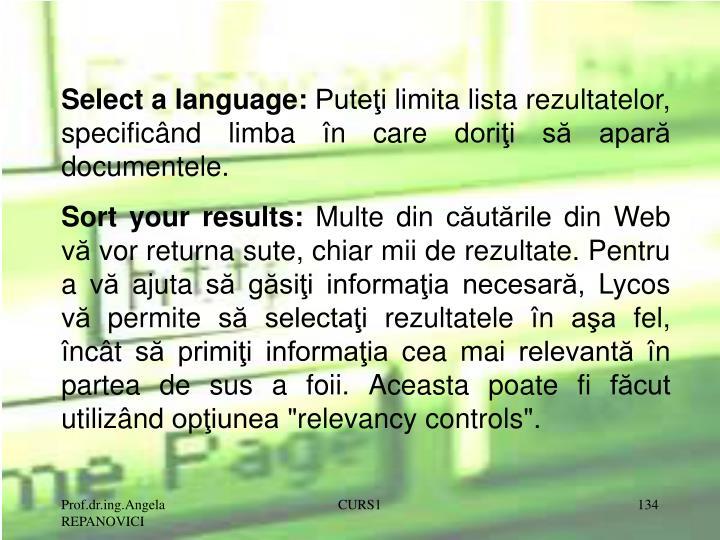 Select a language: