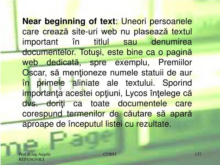 Near beginning of text