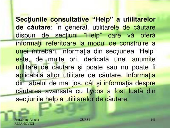 """Secţiunile consultative """"Help"""" a utilitarelor de căutare"""
