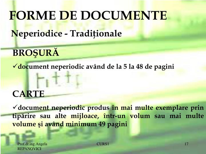 FORME DE DOCUMENTE