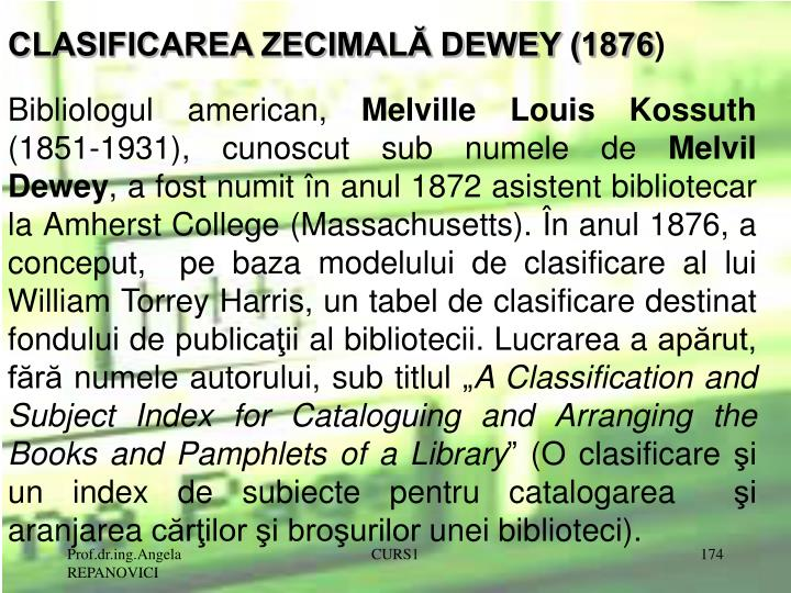 CLASIFICAREA ZECIMALĂ DEWEY (1876