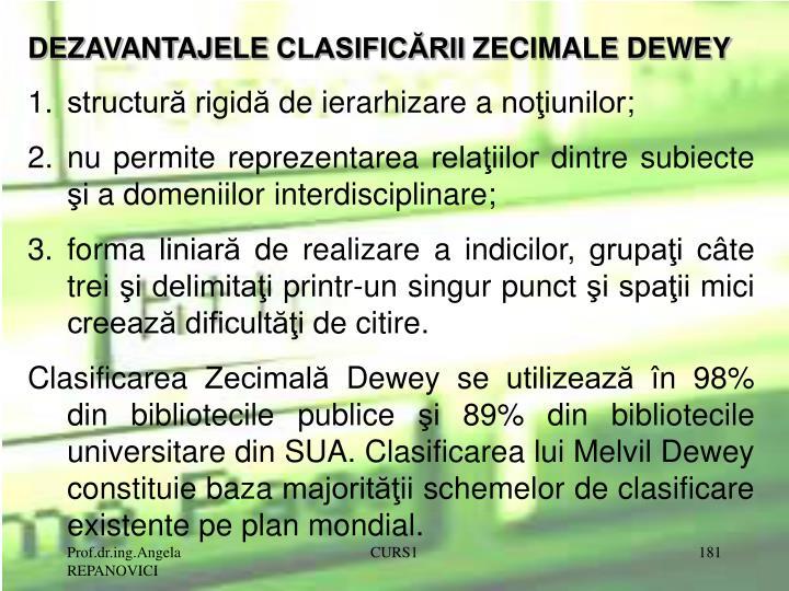 DEZAVANTAJELE CLASIFICĂRII ZECIMALE DEWEY