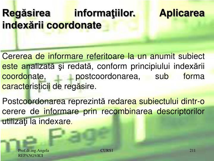 Regăsirea informaţiilor. Aplicarea indexării coordonate