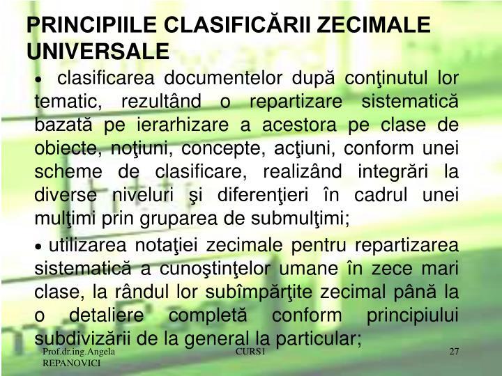 PRINCIPIILE CLASIFICĂRII ZECIMALE UNIVERSALE