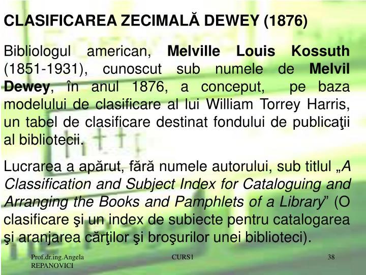 CLASIFICAREA ZECIMAL