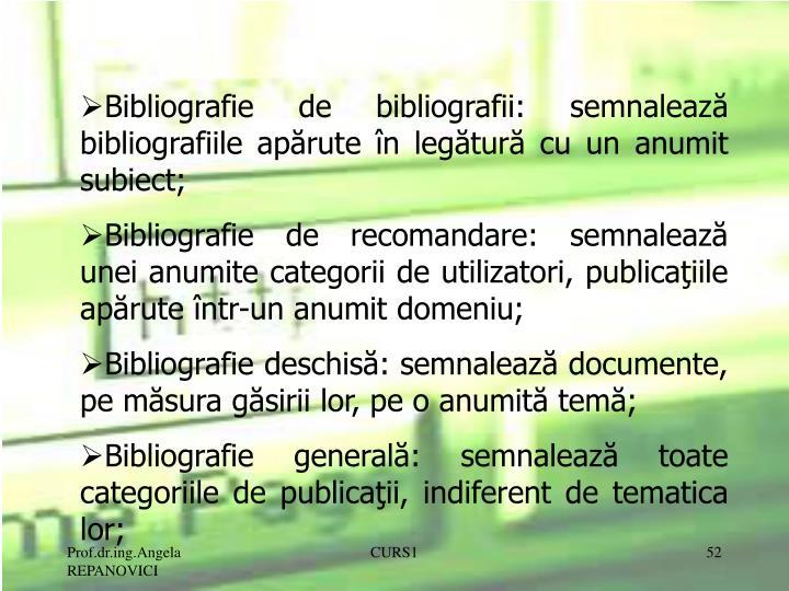 Bibliografie de bibliografii: semnaleaz
