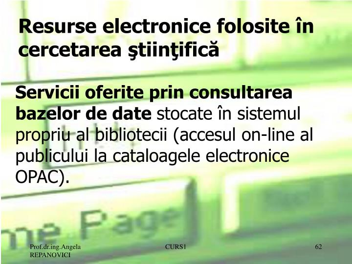 Resurse electronice folosite în cercetarea ştiinţifică