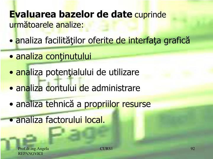 Evaluarea bazelor de date