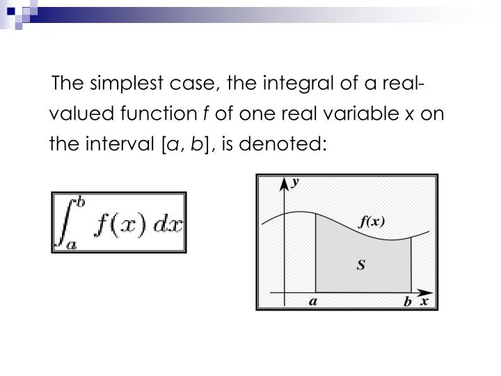 The simplest case, the integral of a real-valued function