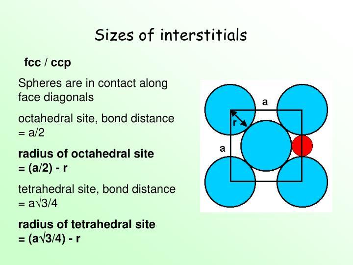 Sizes of interstitials