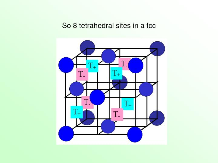So 8 tetrahedral sites in a fcc