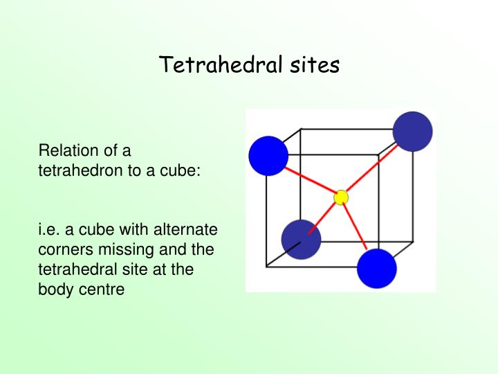 Tetrahedral sites