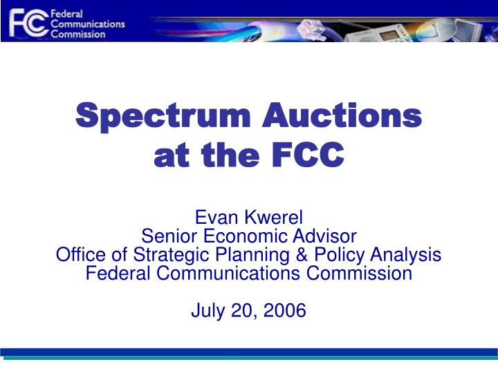 spectrum auctions at the fcc n.