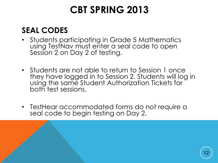 CBT Spring 2013
