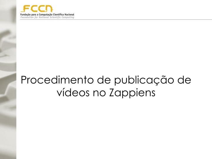 Procedimento de publicação de vídeos no Zappiens