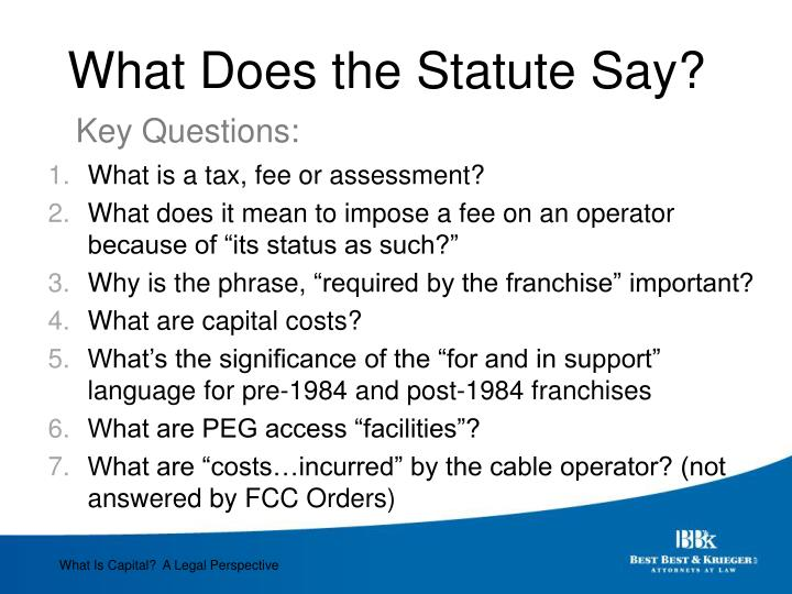What Does the Statute Say?