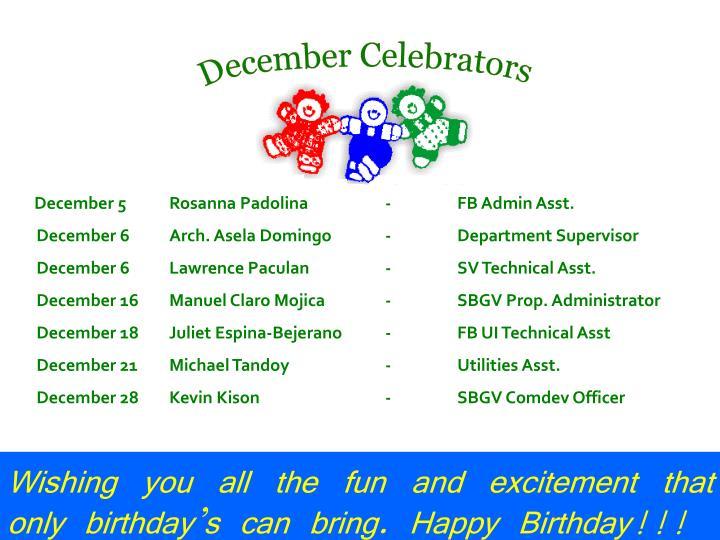 December Celebrators