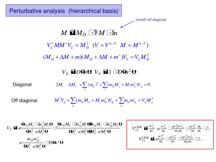 Perturbative analysis  (hierarchical basis)