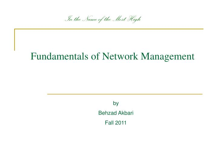 fundamentals of network management n.
