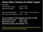 binary neas statistics for radar targets