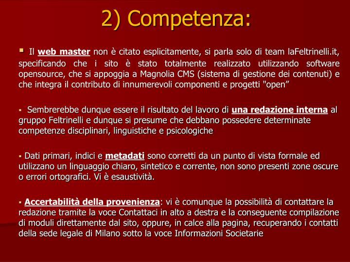 2) Competenza: